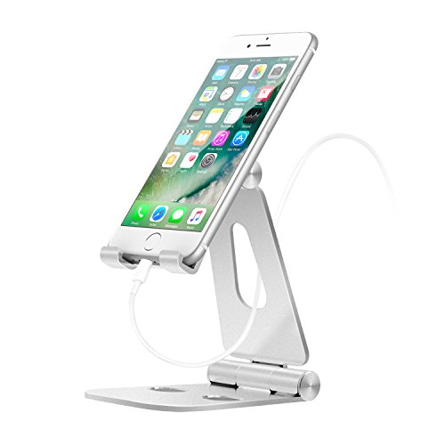 MoKo Foldable Phone/Tablet Stand, 210 Degree Aluminum Desktop Holder Fit with iPhone 11 Pro Max/11 Pro/11, iPad 10.2 2019, New iPad Air 3, Mini 5,iPhone Xs/XS Max/XR/X, Galaxy Note 10 Plus, Silver
