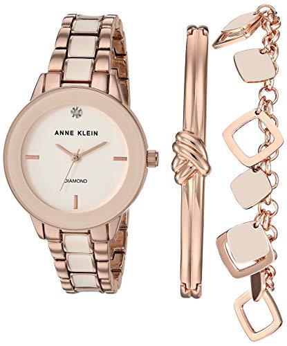 Anne Klein Women's Genuine Diamond Dial Rose Gold-Tone and Blush Pink Watch with Bracelet Set, AK/3348BHST from Anne Klein