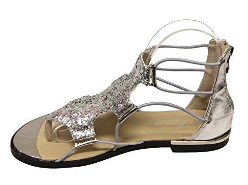 Per Sempre Rosie-30 Donna Glitter Oro Con Strisce Chiusura Zip Sandali Flat Metallici Argento 6