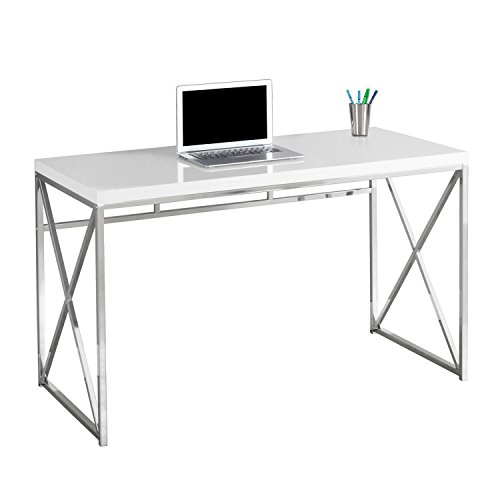 Monarch I 7205 Chrome Metal Computer Desk, 48'', Glossy White by Monarch