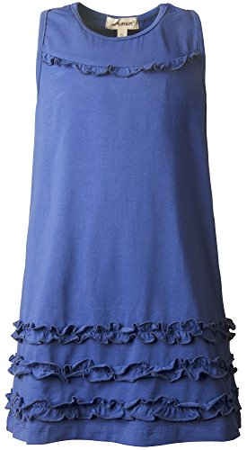(Ipuang Girls' Casual Ruffle Bow Sundress Blue)