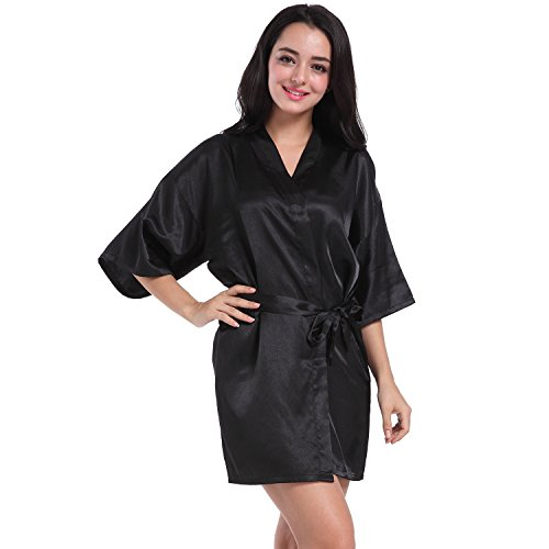 SIMJOY Women's Satin Short Kimono Robe Plain Dressing Gown Bathrobe Bridal Party Robe, Black, Large