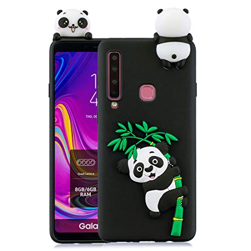 (MZBaoLingMeiDongUS Cartoon Silicone Case for Samsung Galaxy A9 2018,Soft TPU Rubber Cover Compatible with Samsung A920, 3D Panda Pattern Animal Series Slim-Fit Anti-Scratch case - Black)