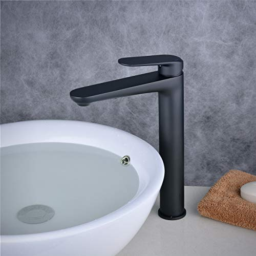 Single Handle Bathroom Vessel Sink Faucet, Mixer Basin Faucet with Tall Body,Modern Design Single Hole, Matte Black, Beelee BL6697BH