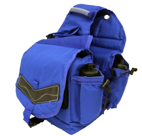 (Deluxe Canvas Horse Saddle Bag Water Bottles Royal Blue)