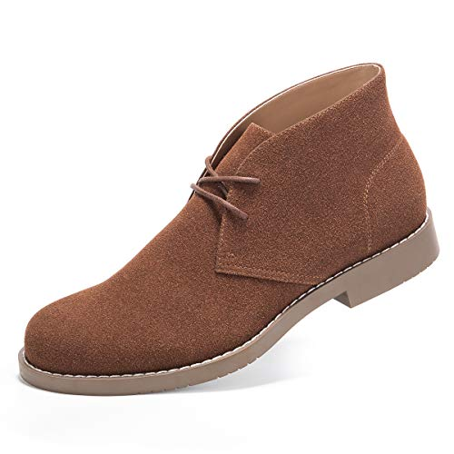 Suede Chukka Boots for Men-Lace Up Desert Boots Ankle Casual Boots Stylish Street Walking Shoes Dark Brown 10