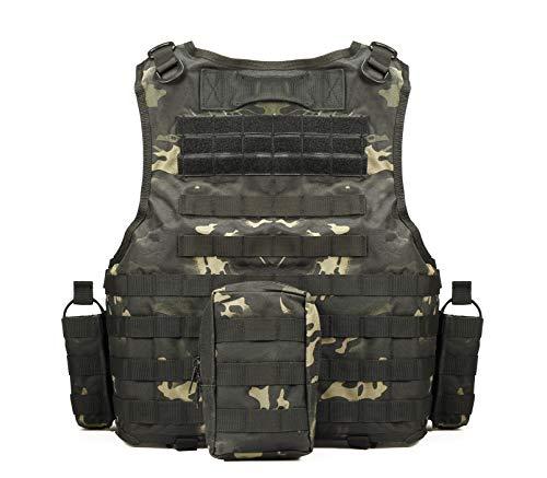 YAKEDA Gilet Tactique, Veste Porte Plaque Ajustable pour Armée, Police, Equipement d'Extérieur ou Veste Cosplay du Jeu… 2