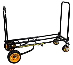 "Rock-N-Roller R6G (Mini Ground Glider) 8-in-1 Folding Multi-Cart/Hand Truck/Dolly/Platform Cart/28"" to 42.5"" Telescoping Frame/500 lbs. Load Capacity, Black"
