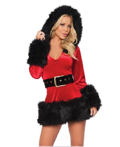Black Temptation Women's Long-sleeved Mrs Santa Christmas Costume Black(194)]()