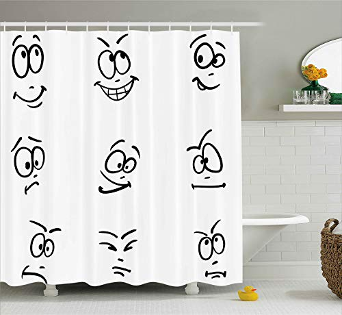 Ambesonne Humor Decor Shower Curtain by, Internet Meme Face Gesture with Different Expressions Doodle Style Artwork, Fabric Bathroom Decor Set with Hooks, 70 Inches, Black White ()