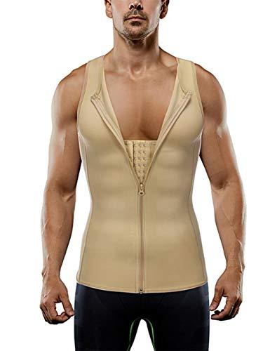 HEXIN Mens Bodysuit Abs Abdomen Zipper Clouse Waist Trainer X Back Vest Shirt Weight Loss Workout Beige XXL