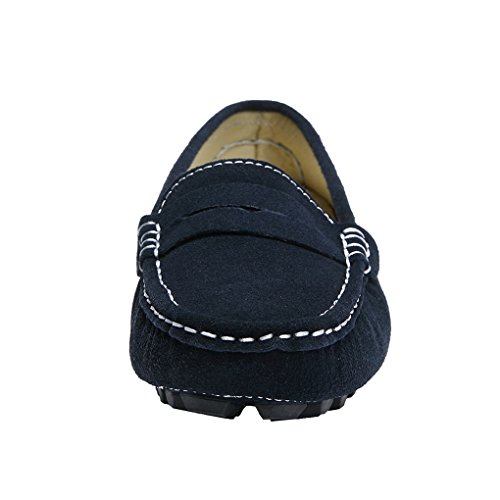 Driving Moccasins Leather Blue Classic Loafers Ruiatoo Casual Penny Suede Women's fXHqOH