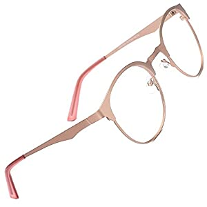 TIJN New Round Designer Metal Eyeglasses Frames with Clear Lens (Rose Gold, Transparent)