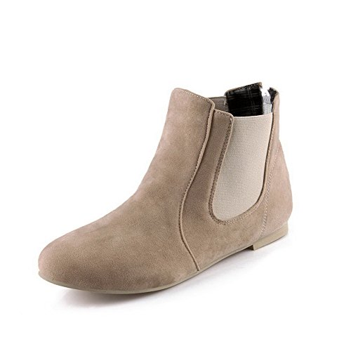 Low Frosted Boots Top Women's Toe No Zipper Heel AgooLar Round Apricot Closed qwFB65I