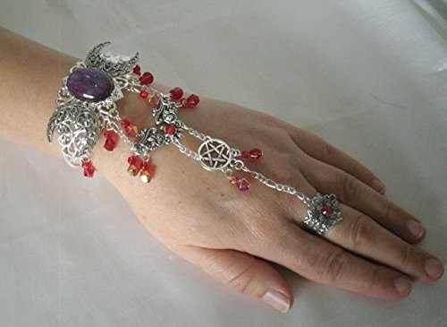 Fire Opal Slave Bracelet, handmade jewelry wiccan pagan wicca witch triple moon witchcraft goddess hand chain