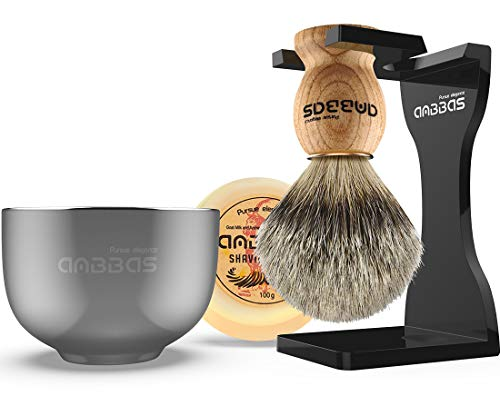 Shaving Set, Anbbas 4IN1 Pure Badger Hair Shaving Brush Wood Handle,Black Thicken Acrylic Shaving Stand,Stainless Steel Shaving Bowl and Goat Milk Soap 100g