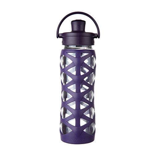 Lifefactory 532003  22-Ounce BPA-Free Glass Water Bottle with Active Flip Cap and Silicone Sleeve, - Aubergine Material
