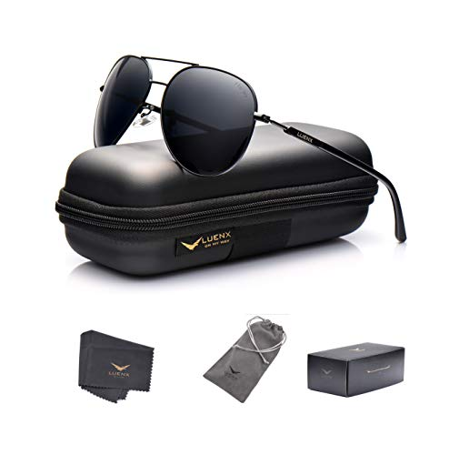 LUENX Aviator Sunglasses Mens Women Polarized Black Lens Black Metal Frame Dark 60mm with Case - UV400 ()