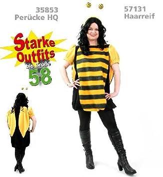 Biene Kleid 1 Tlg Plusch Damen Fasching Kostum Mit Flugeln Gr 58