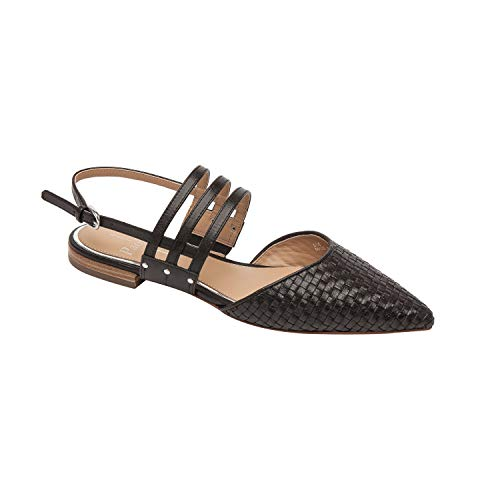 - Dahlia | Pointy Toe Woven Leather Slingback Strappy Flat Black Woven Leather 11M