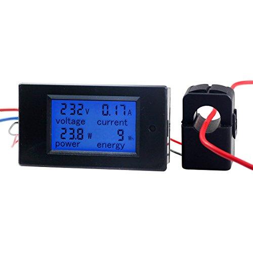 Amp Hour (AC 100A Digital Power KWh Watt Meter Volt Energy Multimeter Amp Voltmeter Ammeter with Current Transformer CT,Open-close Current Transformer)