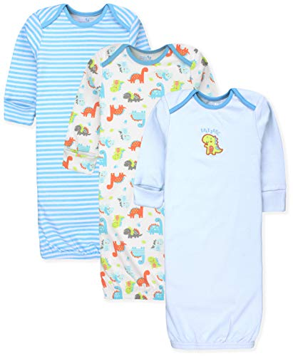 Maybe Baby Kids Infant Boys and Girls 3 Pack Set Cotton Baby Gowns w/Mitten Cuffs & Easy Change Expandable Shoulders, 0-6 Months, Dinosaur