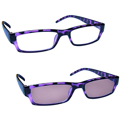 (The Reading Glasses Company Purple Lightweight Readers With UV400 Sun Reader Value Twin Pack Mens Womens RS32-5 +2.00)