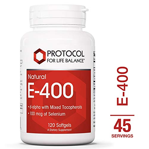 Protocol For Life Balance - E-400 - Mixed Tocopherols and Selenium, Immune System Support, Anti-Aging, Balance Hormones, Helps Improve Vision, Improves Endurance & Muscle Strength - 120 Softgels