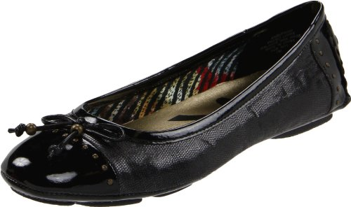 Anne Klein Sport Women's Buttons Fabric Ballet Flat, Black, 6 M US