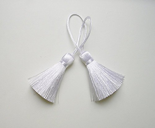 White Tassels Silk Handmade Trim Fringe DIY Jewelry Making Pendant Earrings Drapery Embellishments Supplies 2 Pieces ()