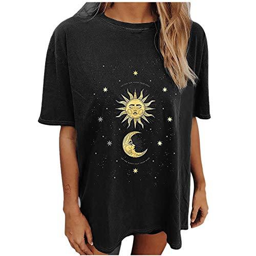Risaho Damen Sommer Kurze Ärmel Lange Lässige Tops Lockere Sommer Oberteil für Frauen Mädchen Lässige Tops Lockere Sweatshirt Hemd