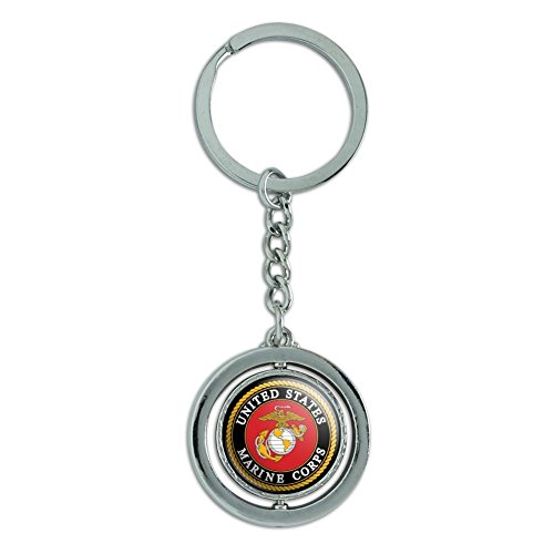 Marines USMC Emblem Black Yellow Red Officially Licensed Spinning Round Chrome Plated Metal Keychain Key Chain Ring