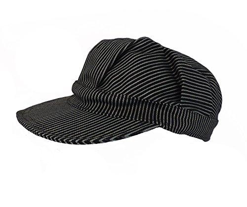 - Navy Blue Pinstripe Engineer Train Conductor Hat Cap