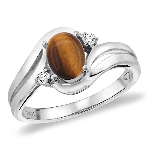 14K White Gold Diamond Natural Tiger Eye Bypass Engagement Ring Oval 8x6 mm, size 5 -