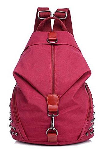 Clouté dos à AgooLar Voyage Sacs Femme Rouge Nylon GMBBA181416 Daypack Sacs bandoulière à Rouge fWW6q5