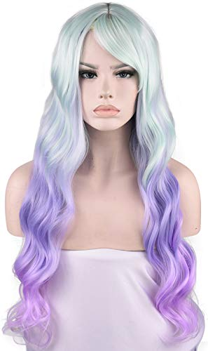 SEIKEA Mermaid Wig Cosplay Costume Light Green Purple Pink Mix