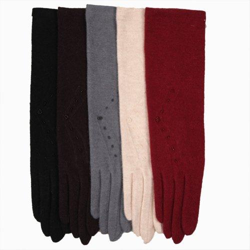 Warmen Women Wool Gloves (One size, Beige)