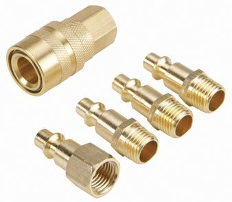 Central Pneumatic 5 Piece Solid Brass Industrial Quick Coupler Set