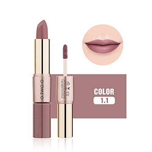 Sunbona  Clearance Sale O.TWO.O Lipstick 12 Colors Women 2 in 1 Velvet Matte Lipstick Lip Gloss Double-End Makeup (K)