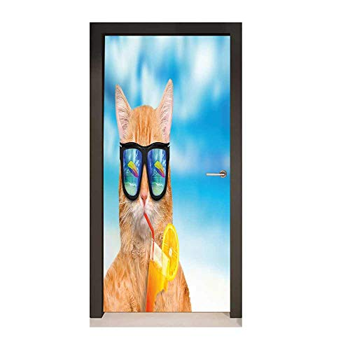 (Funny 3D Murals Wall Stickers Cat Wearing Sunglasses Relaxing Cocktail in The Sea Background Summer Kitty Image for Home Decoration Blue Ginger,W23.6xH78.7)