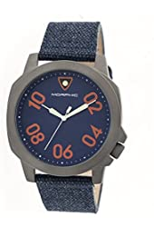 Morphic Men's 'M41 Series Canvas with Backing Strap' Quartz Stainless Steel and Leather Watch, Color:Navy (Model: MPH4105)