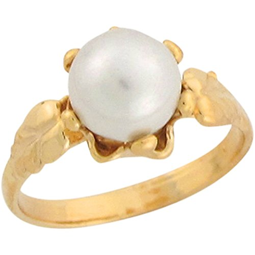 (Jewelry Liquidation 14k Real Yellow Gold Cultured Pearl Fancy Delicate Baby Girls Ring)