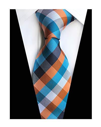 Tone Jacket Microfiber Two - Men Boy Classic Multicolored Silk Tie Cyan Blue Navy Orange White Formal Necktie