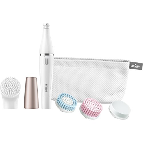 Braun Mini-Facial Electric Hair Removal Epilator with 4 Cleansing Brushes and Beauty Pouch for Women