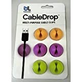 Bluelounge Design CableDrop Multi-purpose Cable Clips Bright Colors Pack of 6