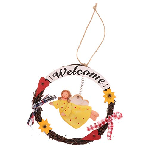 (Flameer Welcome Sign,Home Decorative Door Wall Plaque,Hanging Ornaments Wood Sign Old Angel Theme Wooden Handcrafted Decor for Door, Entrance, Porch -)