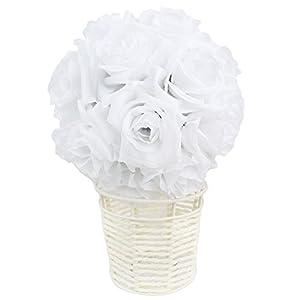 "AerWo White Rose Flower Ball Artificial Pomander Bouquet 7"" inch Kissing Ball Wedding Centerpiece Decoration 2"
