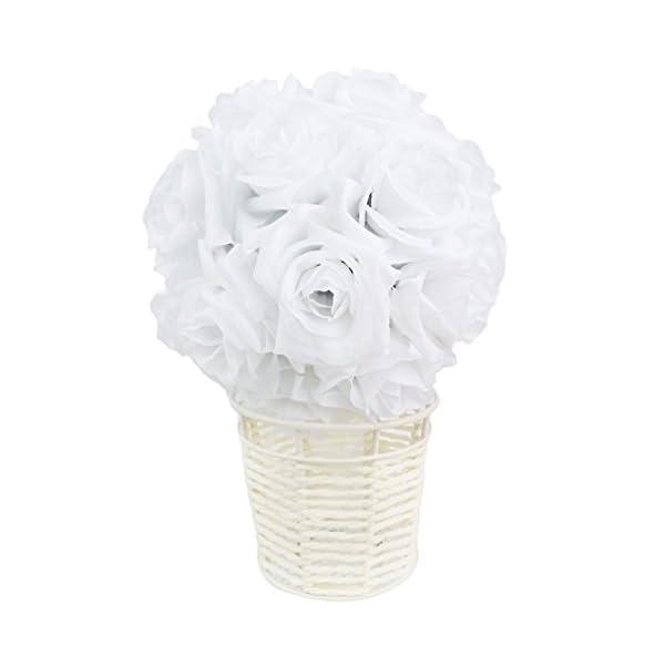 AerWo-White-Rose-Flower-Ball-Artificial-Pomander-Bouquet-7-inch-Kissing-Ball-Wedding-Centerpiece-Decoration