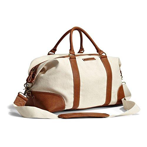 Margaritaville Unisex Weekender Duffle Shoulder Bag With Detachable Strap Plain Natural Crème Brown