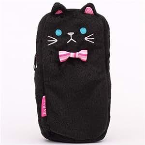 Gracioso estuche de peluche gato negro de Japón